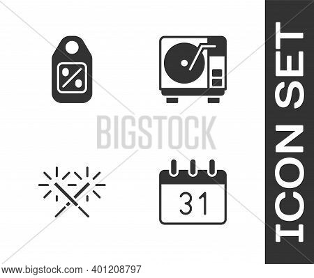 Set Calendar, Price Tag With Sale, Sparkler Firework And Vinyl Player Vinyl Disk Icon. Vector