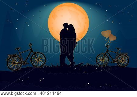 Couple In Evening Under The Orange Moon In Love Atmosphere. Valentine\'s Day Card With Romantic Coup