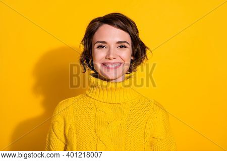 Photo Portrait Of Smiling Cheerful Happy Girl With Bob Hairstyle In Knitted Sweater Isolated On Brig