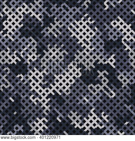 Violet Camouflage Seamless Pattern. Glowing Color Seamless Camouflage Net
