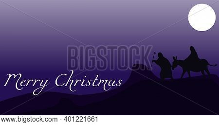 Silhouette Illustration Of Mary And Joseph, Journey To Bethlehem, For Christmas Theme