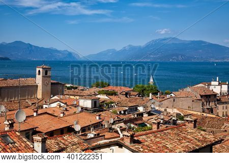 Rooftop view of Desenzano del Garda, a resort town on the southern shore of Lake Garda in  Northern Italy. Lake Garda is the largest lake in Italy and a popular holiday location