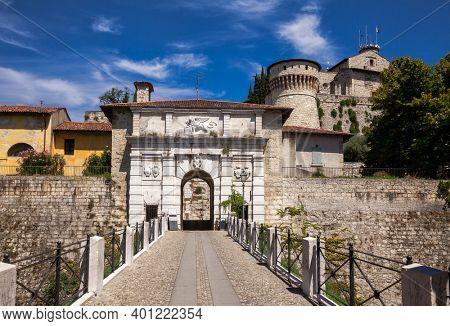 Main entrance to Castle of Brescia (Castello di Brescia) or Falcon of Italy (Falcone d'Italia) in Brescia, Lombardy, Northern Italy