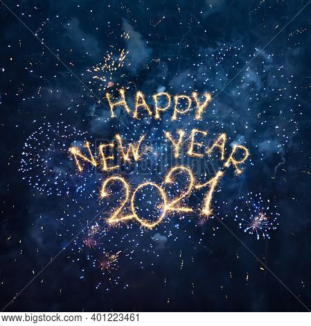 Happy New Year 2021. Beautiful New Year Congratulations. Square  Creative Holiday Web Banner Or Gree