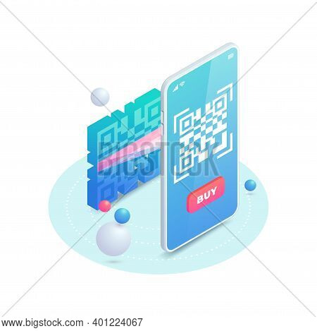 Scan Qr Code On Smartphone Screen. 3d Scanning Barcode Concept, Qr Pay Isometric Vector Illustration