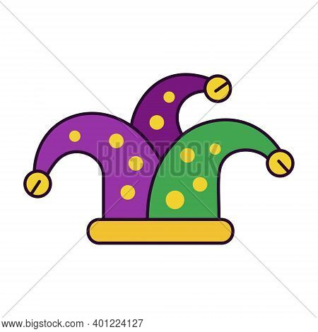 Bright Icon With Soft Masquerade Jester Hat In Traditional Purple-green-yellow Palette. Symbol Of Mi
