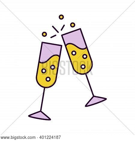 Web Icon Of Two Clinked Glasses Filled By Champagne. Symbol Of Party, Wedding, Buffet, New Year Eve