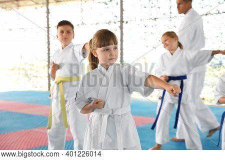 Children In Kimono Practicing Karate On Tatami Outdoors