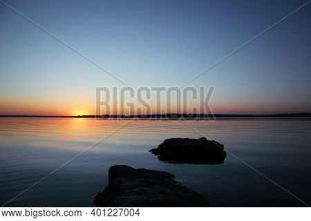Picturesque View Of Sunset On Riverside. Healing Concept