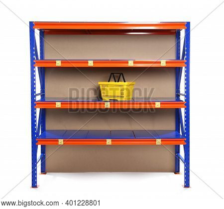 Almost Empty Shelves On White Background. Product Deficiency Due To Social Panic