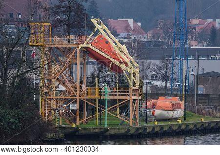 Szczecin, West Pomeranian - Poland - 2020: Lifeboat At  Maritime Rescue Training Center Of The Marit