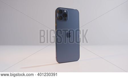 Moscow, Russia-november, 2020: New Iphone On White Isolated Background. Action. New Iphone With Styl