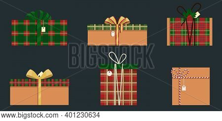 Set Of 6 Stylish Holiday Boxes. Christmas And New Year Design. Holiday Surprise Gift. Christmas Back