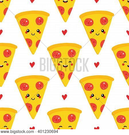 Cute Cartoon Style Pepperoni Pizza Slice Characters And Hearts Vector Seamless Pattern Background.
