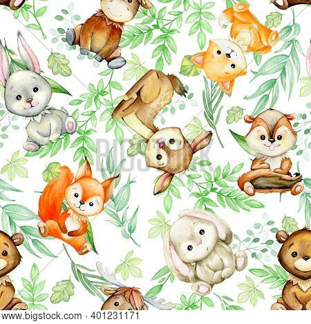 Forest, Animals, Elk, Hare, Squirrel, Fox, Deer, Plants, Cartoon Style, On A White Background. Water