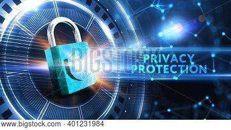 Cyber Security Data Protection Business Technology Privacy Concept. Privacy Protection 3d Illustrati