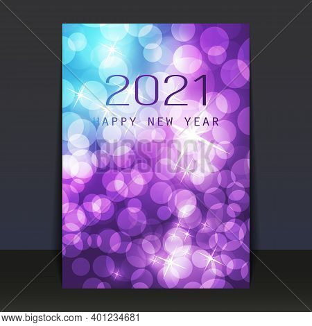 Ice Cold Blue And Purple Pattered Shimmering New Year Card, Flyer Or Cover Design - 2021