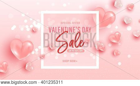 Happy Saint Valentine Day Sale Background With Air Heart Shaped Balloons. Minimal Frame. Vector Illu