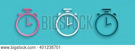 Paper Cut Stopwatch Icon Isolated On Blue Background. Time Timer Sign. Chronometer Sign. Paper Art S