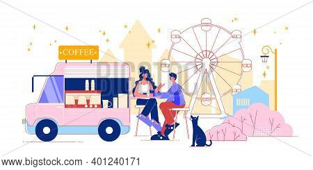 Funfair Amusement Park Coffee Van Composition With Flat Cityscape Scenery Observation Wheel And Peop