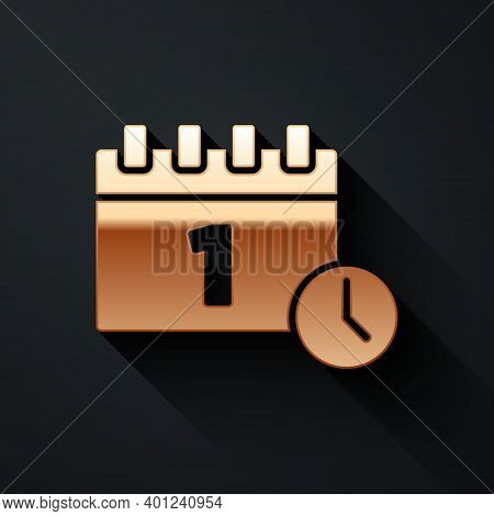 Gold Calendar With First September Date Icon Isolated On Black Background. September 1. Date And Tim