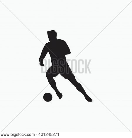 Smooth Dribble In Soccer - Silhouette Flat Illustration - Shot, Dribble, Celebration And Move In Soc