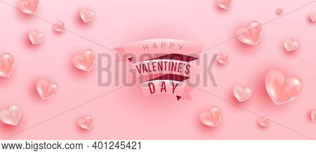 Happy Valentine Day Background Design Of Realistic 3d Render Bauble Love Shape And Pink Gift Ribbon
