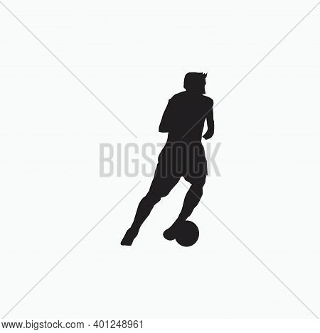 Left Footed Well Dribbling - Silhouette Illustration - Shot, Dribble, Celebration And Move In Soccer