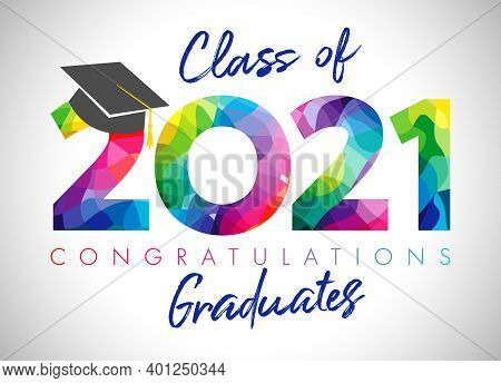 Class Of 2021 Year Graduation Banner, Awards Concept. Class Off Holiday Colour Invitation Card. 3d D