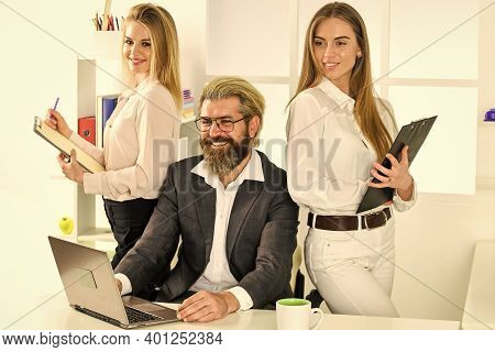 Sharing Good News With Friend. Male Boss With His Secretary. Office People Discuss Business. Modern