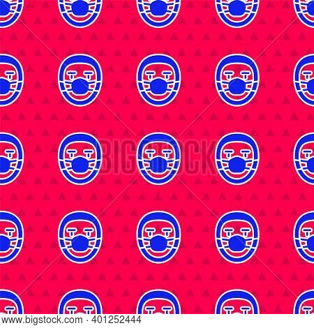 Blue Doctor Pathologist Icon Isolated Seamless Pattern On Red Background. Vector