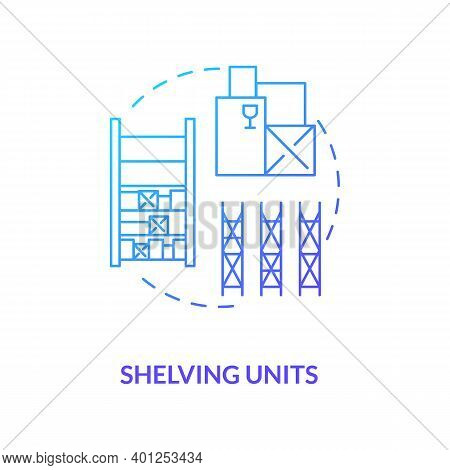 Shelving Units Concept Icon. Key Warehouse Equipment. Modern Tracking Technologies Which Can Be Move