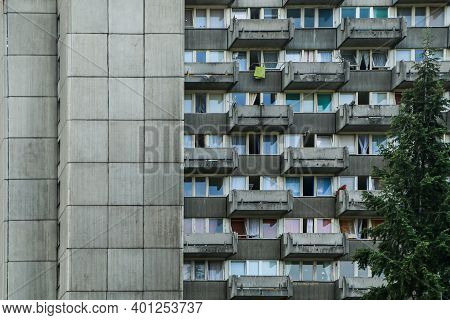 A Detail Of The Facade Of The Old Communist Building. It Is An Illustration Of The Brutalist Archite