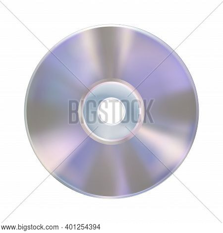 Compact Disk Or Laser Disc, Isolated On White Background. Realistic Cd Mockup. Information Carrier.