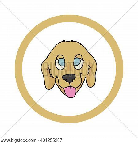Cute Cartoon Golden Retriever Face In Circle Puppy Vector Clipart. Pedigree Kennel Doggie Breed For