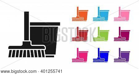 Black Mop And Bucket Icon Isolated On White Background. Cleaning Service Concept. Set Icons Colorful