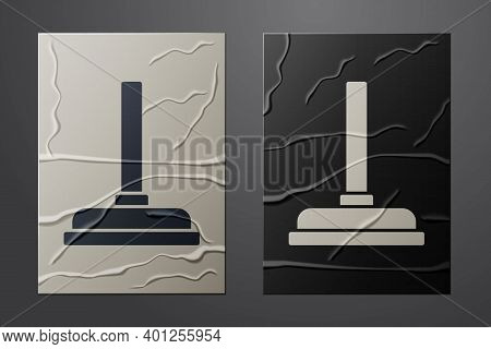 White Rubber Plunger With Wooden Handle For Pipe Cleaning Icon Isolated On Crumpled Paper Background
