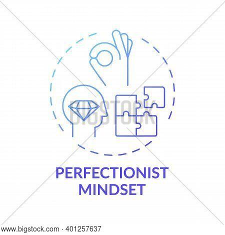 Perfectionist Mindset Concept Icon. Procrastination Reason Idea Thin Line Illustration. Workaholism.