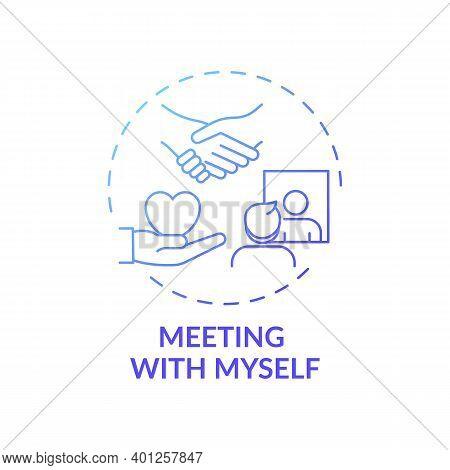 Meeting With Myself Concept Icon. Fighting Procrastination Method Idea Thin Line Illustration. Reali