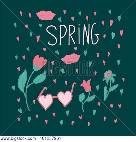 Poster, Postcard Of Spring Flowers. Illustrations Of Nature And Love Are Hand-drawn In The Doodle St