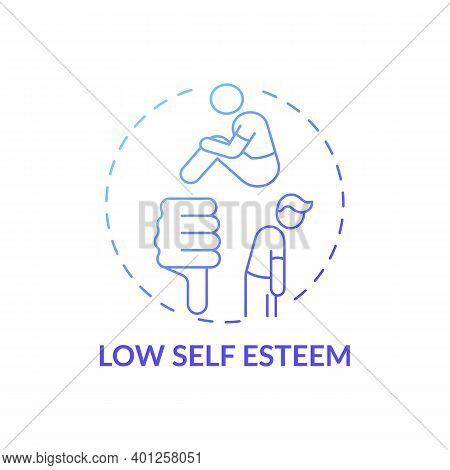 Low Self Esteem Concept Icon. Procrastination Effect Idea Thin Line Illustration. Anxiety, Stress, L