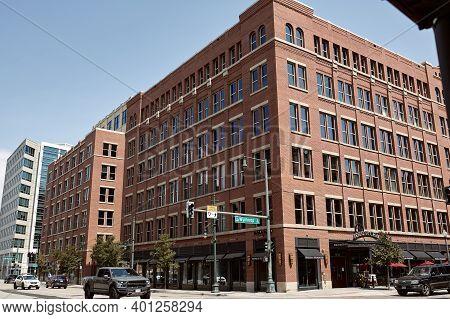Denver, Colorado - August 4th, 2020:  Brick Exterior Of Fogo De Chao In Downtown Denver.  Denver, Co