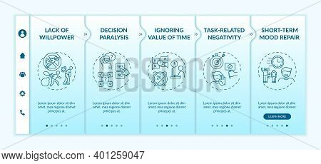 Delaying Tasks Habit Reasons Onboarding Vector Template. Short-term Mood Repair. Decision Paralysis.