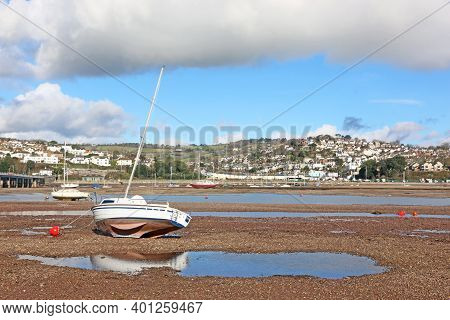 Boat On The River Teign, Shaldon At Low Tide