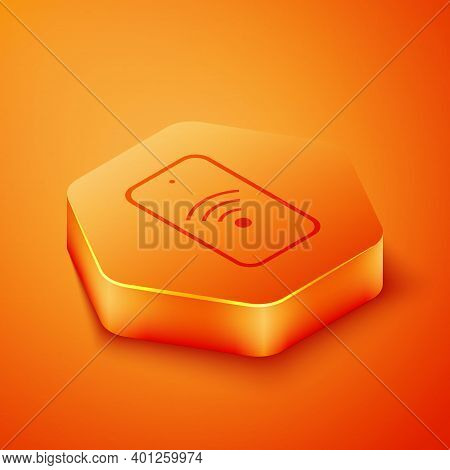 Isometric Smartphone With Free Wi-fi Wireless Connection Icon Isolated On Orange Background. Wireles