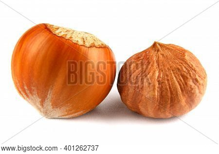 Inshell And Peeled Forest Nuts Are Isolated On A White Background. Hazelnut Is Isolated On A White B