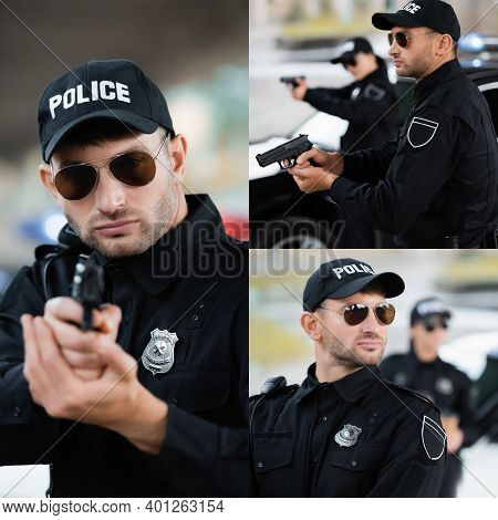 Collage Of Young Police Officer Holding Gun On Blurred Background Outdoors.