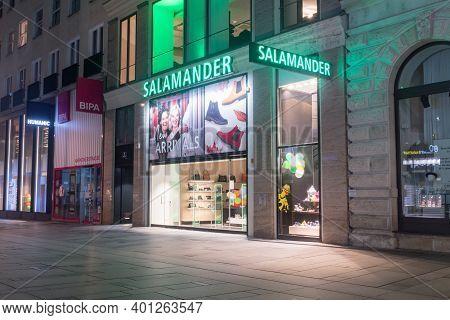 Vienna, Austria - August 30, 2020: Salamander Footwear Store In City Center Of Vienna.