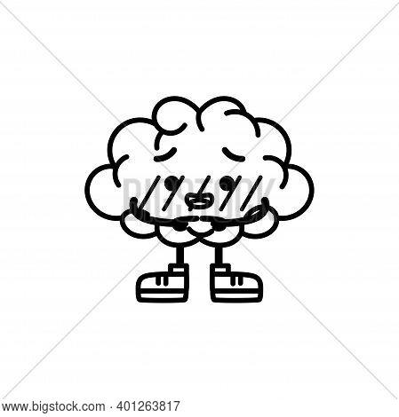 Isolated Shy Brain Cartoon. Shy Emote - Vector Illustration