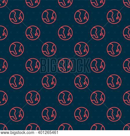 Red Line Earth Globe Icon Isolated Seamless Pattern On Black Background. World Or Earth Sign. Global